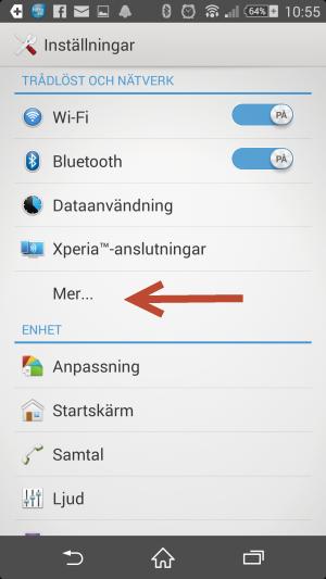 Inställningar för trådlöst nätverk på android.
